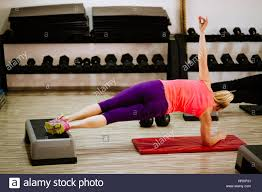 weightloss group side plank workout for abs women fitness weightloss group stock
