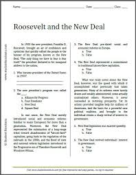 roosevelt new deal eleanor roosevelt famous  roosevelt and the new deal reading worksheet to print pdf file