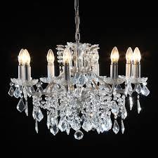 emma silver leaf 8 branch crystal chandelier 0