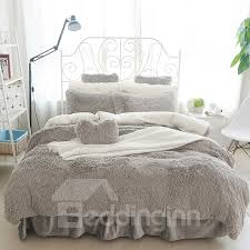 bedding sets 63 fluffy solid gray and white