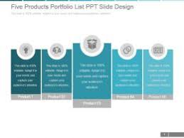 Slide Desigh Five Products Portfolio List Ppt Slide Design Templates