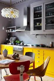 Bright Kitchen Color Kitchen Yellow Kitchen Cabinet Storages With Grey Kitchen Wall