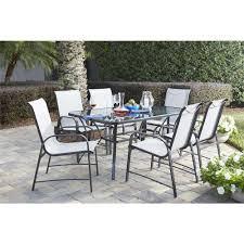 cosco paloma 7 piece steel patio dining set with tempered glass table top