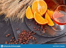 Top View Coffee Beans And Glass Of Brandy. Stock Photo - Image of ...