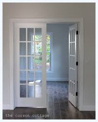 Simple Design For Interior Pocket Door With Medium Wooden Frame ...