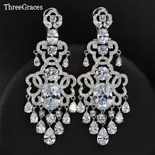 aliexpress threegraces famous brand vintage royal blue cubic zirconia chandelier earrings
