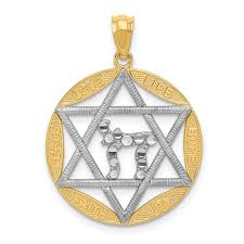 ice carats designer jewelry gift usa 14k yellow gold jewish jewelry star of david chai circle pendant charm necklace religious judaica gifts for women for