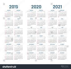 Year 2019 2020 2021 Calendar Vector Stok Vektör (Telifsiz) 1028780821