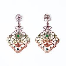 multicoloured chandelier earrings