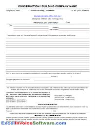 Construction Bid Template Free Microsoft Office Construction Contract Forms Free Rome Fontanacountryinn Com