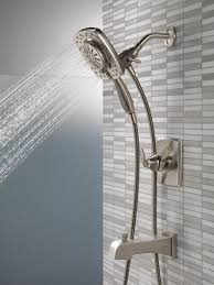delta faucet delta ashlyn 17 series dual function tub and shower trim kit with 2 spray touch clean in2ition 2 in 1 hand held shower head with hose