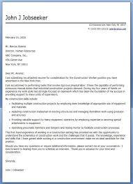 Sample Construction Cover Letters Construction Worker Cover Letter Sample Sample Resume