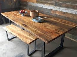 parsons reclaimed wood top dark steel base dining tables crate throughout table with metal legs plan 5