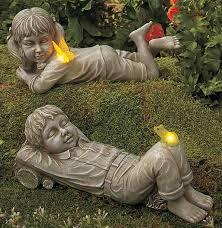 boy girl child erfly frog statue solar light outdoor garden yard decor 1 of 1 see more