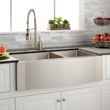 36 optimum 60 40 offset double bowl stainless steel farmhouse sink wave