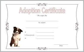 Pet Adoption Certificate Template Dog Birth Certificate Free Template Wonderfully Pet Adoption