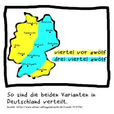 +1 stunde zur ortszeit addieren. Verteilung Der Aussprachevarianten Der Uhrzeit In Deutschland Dreiviertelzwolf