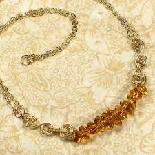 Spiral Beads Design Soleil Necklace With Citrine Nugget Beads And Gold Spirals