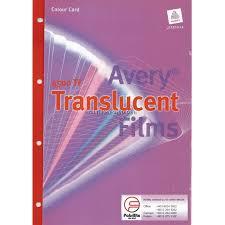 Avery 4500tf Translucent Film Colour Chart