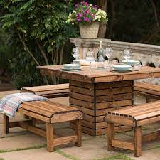 wooden garden dining set square table