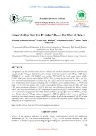Pdf Queens College Step Test Predicted Vo 2max The