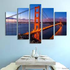 5 Panel Golden Gate Bridge Bild Wandkunst Leinwand Wandbilder Für Schlafzimmer Wohnkultur Ungerahmt
