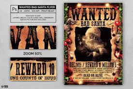 Basic Flyer Template Wanted Bad Santa Psd Flyer Template Thats Design Shop