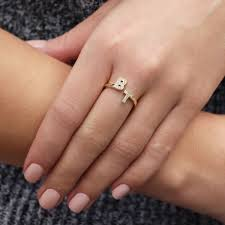 Gold Initial Ring Design Drd Double Initial Ring Jewelry Rings Jewelry Rings
