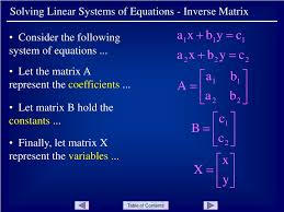 skip this loading slideshow in 5 seconds solving linear systems of equations inverse matrix powerpoint presentation