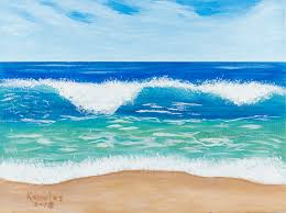 waves acrylic painting beach wave low tide original acrylic painting paul knowles fine art