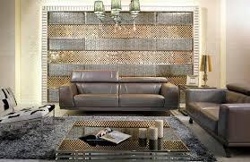 modern metallic grey leather sofa set