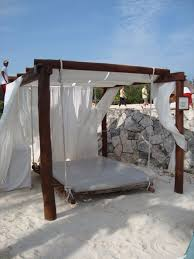 Lovely Outdoor Canopy Bed Ideas Using Vintage Suspended Bed And White Canopy  Curtains