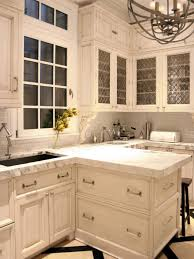 Kitchen Traditional Stained White Kitchen Cabinets Handle