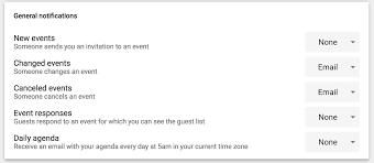 google calendar event notifications email