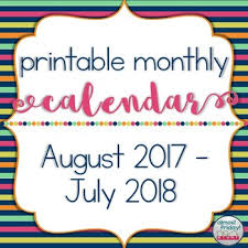 printable school year calendar 2017 2018 by almost friday tpt