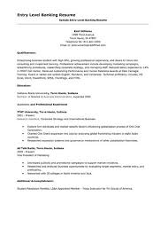 Banking Resume Sample Entry Level