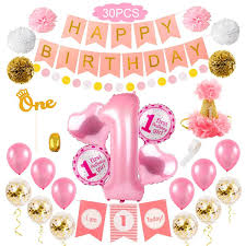 Details About 1st Happy Birthday Party Decor Pink Girl First Foil Balloon One Party Supplies