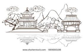 anese landscape with temple paa and mountains outline vector ilration for posters coloring