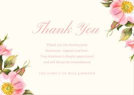 Thank You After Funeral Customize 33 Funeral Thank You Card Templates Online Canva