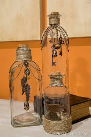 Mason Jars Decorated With Twine Upcycle glass bottles with twine and jewelry accents for an easy 94