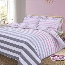 dreamscene stripe duvet cover with pillow case reversible bedding set fade pink white super king flubit
