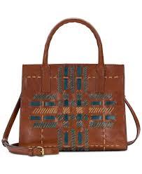 patricia nash woven plaid mozia leather satchel 0