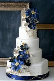 White Blue Gold Wedding Cake Amazing Cake Ideas