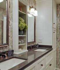 Don't forget counter top space when looking for more storage in a bathroom storage can be added here on the sides or in the middle, depending on the  wall ...