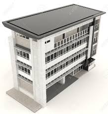 exterior office design. Top Of 3D Modern Office Building Architecture Exterior Design In White Background, Create By E
