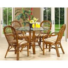 rattan dining room set. boca rattan 22013ama-d amarillo round dining table in urban mahogany with glass top room set e