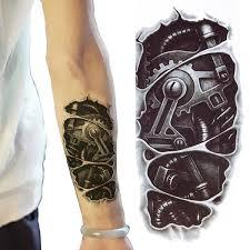 New Terminator Tattoo Temporary Stickers Body Art 3d Tatoo Waterproof Robot Arm