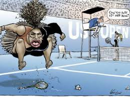 this mark knight s cartoon published by the herald sun depicts serena williams as an irate