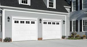 garage door traditional short panel with stockton windows white