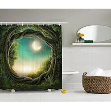 Kids Shower Curtain Bathroom Decor by Ambesonne, Trees with Fairy in  Artistic Artwork Girls Boys and Family Enchanted Forest Full Moon Fabric  Accessories, ...